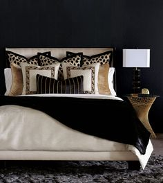 Black White And Gold Bedroom, Black And Gold Living Room, Black Master Bedroom, Tan Bedroom, Black Rooms, Leopard Bedroom Decor, Black Bedroom Design, Cheetah Print Bedroom, Black Bedroom Walls