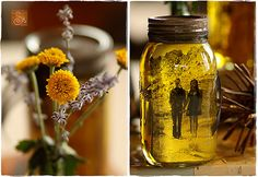mason jar filled with photo of the couple and oil for centerpiece