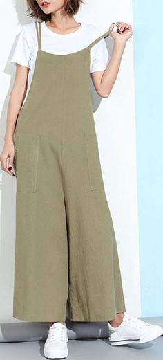 323a224b05 US  19.83 Casual Sleeveless Straps Pockets Solid Color Wide Leg Jumpsuits  Ropa Hippie