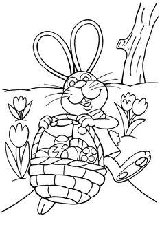 Coloriage d'un lapin tout fière d'avoir rempli son panier d'œufs de pâques