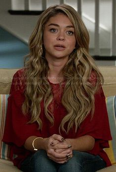 Haley's red lace yoke blouse on Modern Family.  Outfit Details: http://wornontv.net/47262/ #ModernFamily