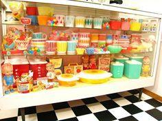 Pyrex  Hazel Atlas - colorful kitchen display!