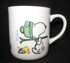 Vintage Peanuts Snoopy Ski Champion Mug Ceramic Coffee Tea Woodstock Skier