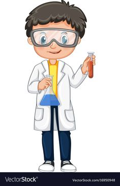 Boy in science gown holding beakers Royalty Free Vector Science Lab Decorations, School Decorations, Science Party, Science Activities, Hand Tattoos For Girls, Science Clipart, Science Equipment, Speech Therapy Games, Kids Background
