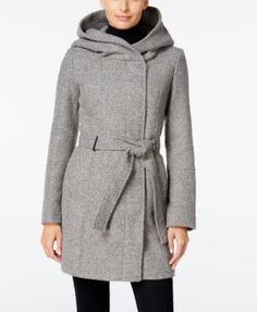 Calvin Klein Petite Asymmetrical Hooded Walker Coat, Only At Macy's In Grey Plaited Coats For Women, Jackets For Women, Asymmetrical Coat, Extra Petite, Sweater Set, Calvin Klein Women, Petite Fashion, Vest Jacket, Casual