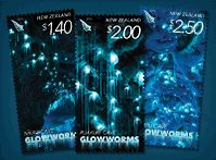 New Zealand glow in the dark stamps replicating the effect of glowworms