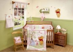 Winnie the Pooh themed baby room! Neutral. and i love the green and white walls.