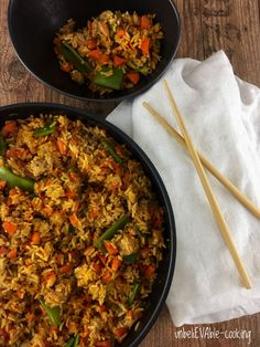 gebratener Reis mit Ei, Stangenbohnen und Zitronengras Paella, Fried Rice, Fries, Veggies, Vegetarian, Cooking, Ethnic Recipes, Food, Moment