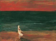 Lajos Gulácsy (Hungarian, Crimson and Emerald (A Woman of the Sea) (Bíbor és smaragd (A Tenger asszonya)), 1905 Oil on canvas, 25 × cm Budapest, Water Art, Art Archive, Landscape Paintings, Landscapes, Art Boards, Surrealism, The Dreamers, Cool Art