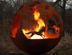 Wild Fire: Wild Horses Sphere Fire Pit. Another view