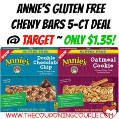 AWESOME DEAL! GLUTEN-FREE!! Annie's Gluten Free Chewy Bars 5-ct Deal @ Target ~ Only $1.35!  Click the link below to get all of the details ► http://www.thecouponingcouple.com/annies-gluten-free-chewy-bars-5-ct-deal-target-only-1-35/ #Coupons #Couponing #CouponCommunity  Visit us at http://www.thecouponingcouple.com for more great posts!