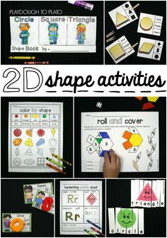 Super fun 2D shape activities for kids! Clip shape sandwiches, make interactive flap books, color by shape... tons of 2d shape ideas for preschool and kindergarten.