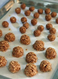 No Bake Dog Treats (From For The Love Of My Dogs) Ingredients 3/4 cup peanut butter 1/4 tsp cinnamon 1/4 cup water 1 1/4 cup oats mix 1st 3 ingredients, add oats 1/4 cup at time, mixing well. spoon onto tray, refrigerate.