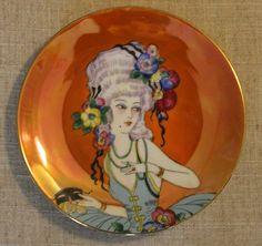 Noritake Handpainted Art Deco Lady Woman Masquerade Plate Lusterware Antoinette   eBay