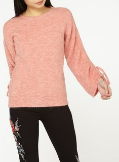 5ae1aaa280 Petite Pink Ruched Sleeve Jumper - Sweaters - Clothing - Dorothy Perkins  United States Jumper