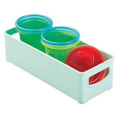 mDesign Baby Food Storage Organizer Bin for Bottles Food Pouches Sippy Cups  10 x 4 x 3 Light Mint * Want to know more, click on the image.