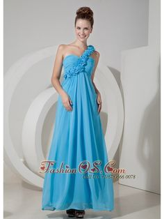 Cheap Aqua Blue Empire One Shoulder Prom / Evening Dress Chiffon Hand Made Flowers Floor-length  http://www.fashionos.com  It features a one strap bodice that's embellished with pretty leaf appliques and lovely silk flowers. The straight skirt is long and flowing to your feet with clean lines. A hidden zipper in the back secures the dress in place and ensures a great fit. The simple, yet intricate designs in this gown will surely make it a favorite.