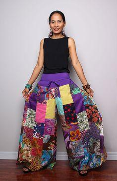 Patchwork Wide Leg pants   Boho Hippie pants  Boho by Nuichan, $58.00