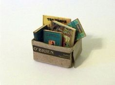 Dollhouse Miniature Tattered Box of Old Books Handmade