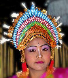 Detail of headdress of Legong dancer, Ubud, Bali