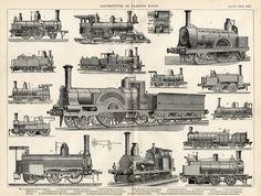 Steam Locomotives Print 1894 Industrial por VintageDecorPrints