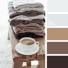 Calm, well-balanced palette in natural, pastel shades. Soft colors bring relaxing and placatory effect. Such a color surrounding helps us rest and give way Beige Color, Neutral Colors, Light Colors, Colours, Colour Pallette, Colour Schemes, Milk Color, Coffee Colour, Color Balance