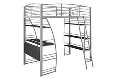 DHP Studio Loft Bunk Bed Over Desk and Bookcase with Metal Frame, Twin, Gray #DHP