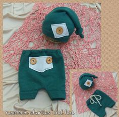 Upcycled newborn shorties with hat baby boy by BeautyOfCrochet