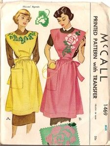 Vintage McCall's Bib Apron Sewing Pattern w Transfer 1469 Misses One Size Vintage Tops, Aprons Vintage, Mode Vintage, Vintage Tablecloths, Vintage Linen, Sewing Aprons, Mccalls Sewing Patterns, Vintage Sewing Patterns, Apron Patterns