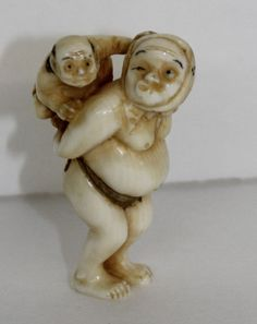"""19th C. Japanese Finely Carved Ivory Netsuke. Measures- 2"""" high"""