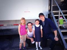 Lee Pace on Halt and Catch Fire set. .With Scoot McNairy and his fictional daughters