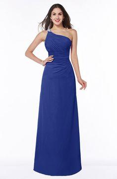 Electric Blue Traditional Asymmetric Neckline Sleeveless Half Backless Chiffon Floor Length Plus Size Bridesmaid Dresses