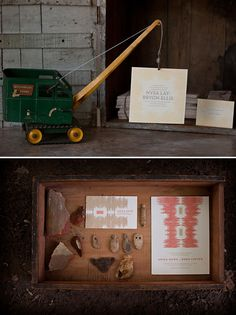 make one invitation, set up a mini-scene, take a picture, and send those out instead!