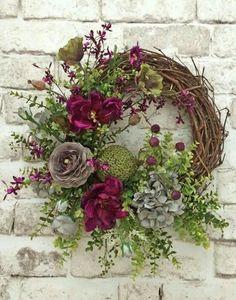 Summer Door Wreaths, Holiday Wreaths, Wreaths For Front Door, Spring Wreaths, Front Doors, Wreath Crafts, Diy Wreath, Grapevine Wreath, Wreath Fall
