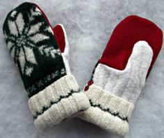 Your place to buy and sell all things handmade Wool Applique Patterns, Mittens Pattern, Small Sewing Projects, Sewing Ideas, Sewing Crafts, Old Sweater Crafts, Wool Felt, Felted Wool, Sweater Mittens