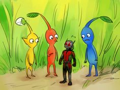 Blue Pikmin, Yellow Pikmin, Red Pikmin and Ant-Man.