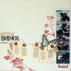 Getting Shiner - Scrapbook.com - Journal the story of how you got your pet on 5 tags and string them across your page.
