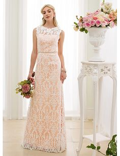 Sheath / Column Illusion Neckline Floor Length Lace Wedding Dress with Crystal Detailing Sashes/ Ribbons by LAN TING BRIDE®