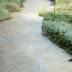 stamped concrete path with dusting of multicolored sand for texture
