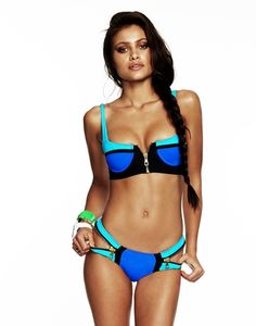 Beach Bunny Swimwear - COLOR BLOCK PUSH UP TOP & SKIMPY BIKINI BOTTOM - Swimwear Shop By Style Tops Push-Up