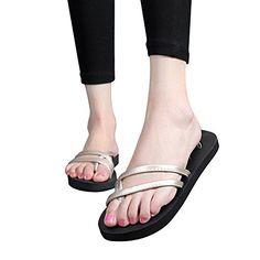 3b1acea10ea973 BININBOX Women Summer Beach Sandals Peep toe Flip Flop slippers Flat 6 BM US  Gold