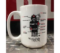 Start your day with a great cup O' joe in a Truckie Firefighter Ceramic Coffee Mug. Each EXTRA LARGE 15 ounce white ceramic coffee mug is Firefighter Home Decor, White Ceramics, Coffee Mugs, Tableware, Dinnerware, Coffee Cups, Tablewares, Dishes, Place Settings