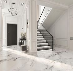 Мои домики. Лестничный холл. #egorova_marina #domoff_group Dream House Interior, Luxury Homes Interior, Luxury Home Decor, Home Interior Design, Modern Townhouse Interior, Modern Classic Interior, Interior Livingroom, Home Stairs Design, Modern House Design
