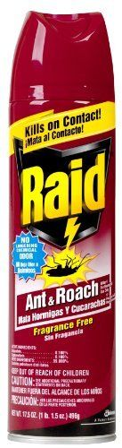 """Raid 11717 Ant & Roach Killer by Raid. $9.89. New Raid unscented formula utilizes a revolutionary new Water base"""" technology that maintains effectiveness and improves product odor. For household use. This item is not for sale in Catalina Island. Kills on contact. Leaves behind less oily residue. Provides relief from even the heaviest infestations of roaches and ants for up to 30 weeks. Kills instantly. Also kills resistant roaches those immune to ordinary insecticide. Con..."""