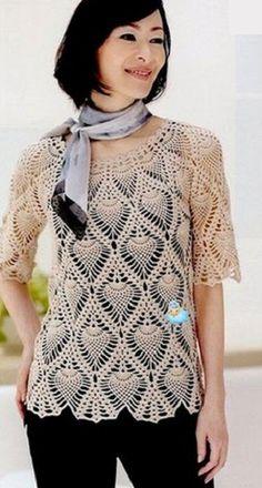 Pasatiempos entre hilos y puntadas: Blusas en punto piña