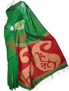 Green & Red Bengal Cotton Silk Saree with Blouse