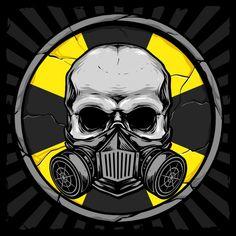Skull With Gas Mask And Bio Hazard Sign Background Gas Mask Drawing, Gas Mask Art, Masks Art, Skull Logo, Skull Art, Ninja Art, Graffiti Characters, Zombie Art, Dark Art Drawings