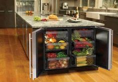 Kitchen island of enormous size with many built-in cupboards for fruits and vegetables The post The modern cooking island in the kitchen & 20 amazing ideas for kitchen design appeared first on Suggestions. Home Decor Kitchen, Diy Kitchen, Kitchen Storage, Kitchen Organization, Organization Ideas, Fridge Storage, Kitchen Layout, Wine Storage, Fridge Drawers