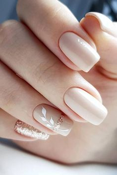 30 Cute Nail Design Ideas For Stylish Brides ❤ nail design wedding nude beige with white leaves and glitter gira.nails nageldesign hochzeit 30 Cute Nail Design Ideas For Stylish Brides Square Nail Designs, Fall Nail Art Designs, Pink Nail Designs, Neutral Nail Designs, Latest Nail Designs, Rose Nail Design, Fingernail Designs, Latest Nail Art, Nail Polish Designs