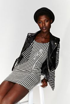 Checkered Past Dress, Youth Revolt Moto Vest, On Point Striped Jacket, Medina Platform - bowler hat coming soon!
